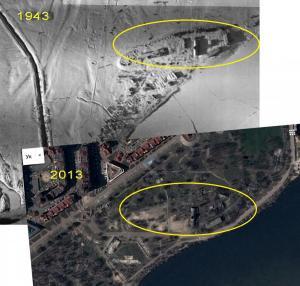 Два снимка 1943 и 2013 года